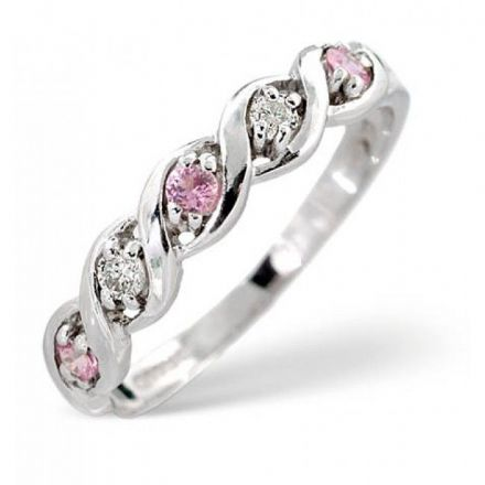 18K White Gold 0.08ct Diamond & 2.25mm x 2.25mm Pink Sapphire Ring, DCR18-PSW